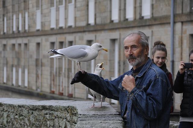старик с птицей