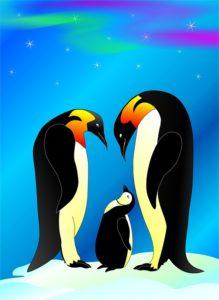 родители пингвины